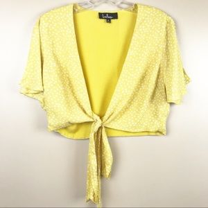 lulu's yellow polka dot wrap crop top Medium